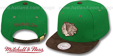 Blackhawks  'TC-BROWN SUEDE STRAPBACK' Hat Mitchell & Ness