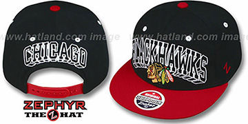 Blackhawks 2T BLOCKBUSTER SNAPBACK Black-Red Hat by Zephyr