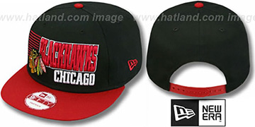 Blackhawks '2T BORDERLINE SNAPBACK' Black-Red Hat by New Era