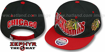 Blackhawks 2T FLASHBACK SNAPBACK Black-Red Hat by Zephyr