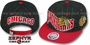 Blackhawks 2T PINSTRIPE FLASHBACK SNAPBACK Black-Red Hat by Zephyr