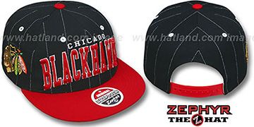 Blackhawks 2T PINSTRIPE SUPER-ARCH SNAPBACK Black-Red Hat by Zephyr