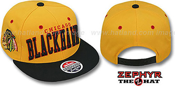 Blackhawks '2T SUPER-ARCH SNAPBACK' Gold-Black Hat by Zephyr