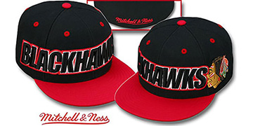 Blackhawks 2T WORDMARK Black-Red Fitted Hat by Mitchell & Ness
