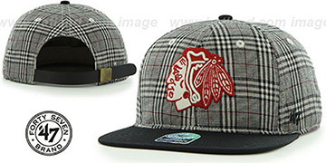Blackhawks '60-MINUTES STRAPBACK' Black Hat by Twins 47 Brand