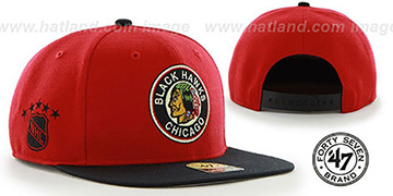 Blackhawks ALT 'SURE-SHOT SNAPBACK' Red-Black Hat by Twins 47 Brand