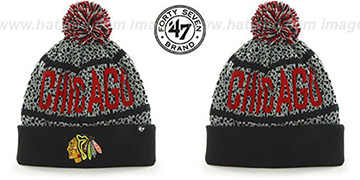 Blackhawks BEDROCK Black-Grey Knit Beanie Hat by Twins 47 Brand