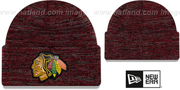 Blackhawks 'BEVEL' Black-Red Knit Beanie Hat by New Era