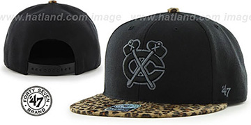 Blackhawks 'BLACK LEOPARD SNAPBACK' Hat by Twins 47 Brand