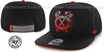 Blackhawks 'BURNING-MAN SNAPBACK' Black Hat by Twins 47 Brand