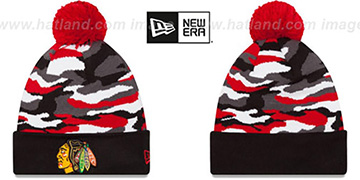 Blackhawks CAMO CAPTIVATE Knit Beanie Hat by New Era