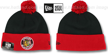 Blackhawks 'CIRCLE' Black-Red Knit Beanie Hat by New Era