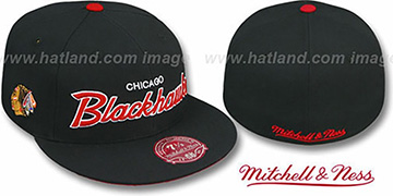 Blackhawks CLASSIC-SCRIPT Black Fitted Hat by Mitchell & Ness