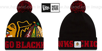 Blackhawks COLOSSAL-TEAM Black Knit Beanie Hat by New Era