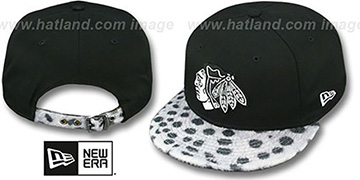 Blackhawks DALMATION ANIMALISTIC-FUR VIZA STRAPBACK Hat by New Era