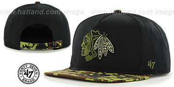 Blackhawks 'DRYTOP STRAPBACK' Black Hat by Twins 47 Brand