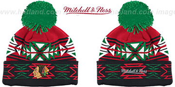 Blackhawks GEOTECH Knit Beanie by Mitchell and Ness