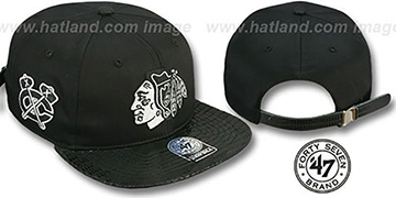 Blackhawks JULIGUNK STRAPBACK Black-Silver Hat by Twins 47 Brand