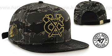 Blackhawks 'JULIGUNK STRAPBACK' Grey-Camo Hat by Twins 47 Brand
