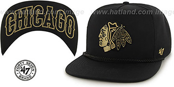 Blackhawks 'MINE-SHAFT STRAPBACK' Black Hat by Twins 47 Brand