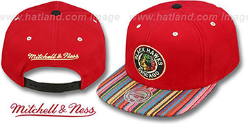 Blackhawks 'NATIVE-STRIPE SNAPBACK' Red Hat by Mitchell and Ness