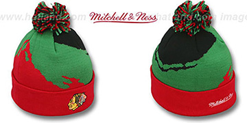 Blackhawks PAINTBRUSH BEANIE by Mitchell and Ness