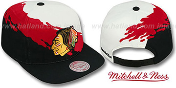 Blackhawks 'PAINTBRUSH SNAPBACK' White-Red-Black Hat by Mitchell & Ness