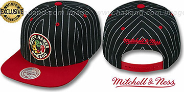 Blackhawks PINSTRIPE 2T TEAM-BASIC SNAPBACK Black-Red Adjustable Hat by Mitchell & Ness
