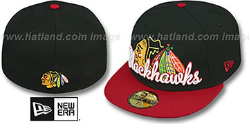 Blackhawks SCRIPT-PUNCH Black-Red Fitted Hat by New Era