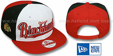 Blackhawks 'SCRIPTWHEEL SNAPBACK' White-Black-Red Hat by New Era