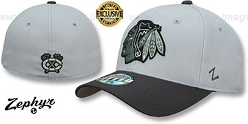 Blackhawks SHOOTOUT Grey-Charcoal Fitted Hat by Zephyr
