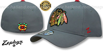 Blackhawks SHOOTOUT Grey Fitted Hat by Zephyr