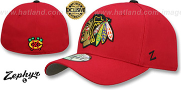 Blackhawks SHOOTOUT Red Fitted Hat by Zephyr