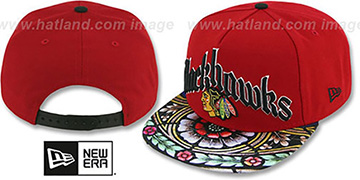 Blackhawks 'STAIN GLASS SNAPBACK' Red Hat by New Era