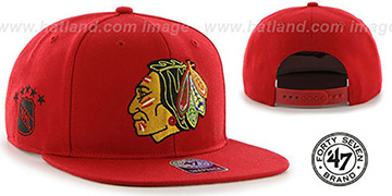 Blackhawks 'SURE-SHOT SNAPBACK' Red Hat by Twins 47 Brand