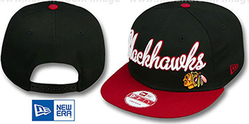 Blackhawks 'SWASH-SCRIPT SNAPBACK' Black-Red Hat by New Era