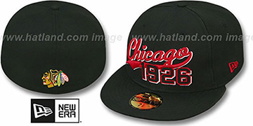 Blackhawks 'THE BEGINNING' Black Fitted Hat by New Era