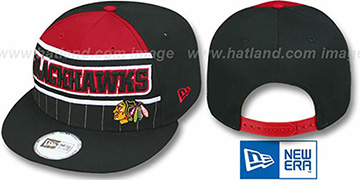 Blackhawks 'WARM-UP SNAPBACK' Black-Red Hat by New Era