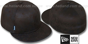 Blank 'DISTRESSED LEATHER' Brown Fitted Hat by New Era