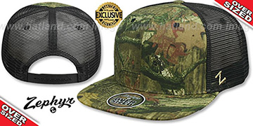 Blank OVER-SIZED CAMO MESH-BACK SNAPBACK Realtree-Black Hat by Zephyr