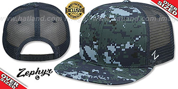 Blank OVER-SIZED DIGICAMO MESH-BACK SNAPBACK Blue-Navy Hat by Zephyr
