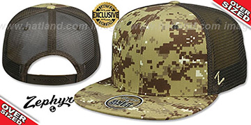 Blank 'OVER-SIZED DIGICAMO MESH-BACK SNAPBACK' Desert-Brown Hat by Zephyr