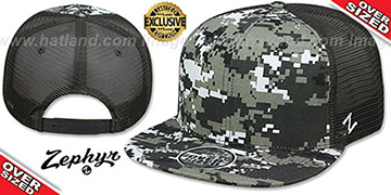 Blank OVER-SIZED DIGICAMO MESH-BACK SNAPBACK Grey-Charcoal Hat by Zephyr