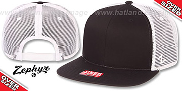 Blank OVER-SIZED MESH-BACK SNAPBACK Black-White Hat by Zephyr