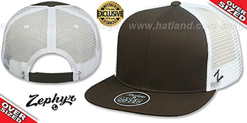Blank OVER-SIZED MESH-BACK SNAPBACK Brown-White Hat by Zephyr