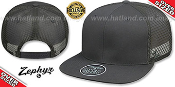 Blank OVER-SIZED MESH-BACK SNAPBACK Charcoal-Charcoal Hat by Zephyr