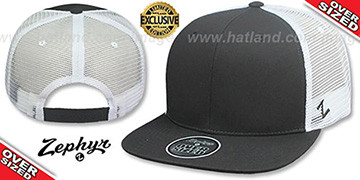 Blank OVER-SIZED MESH-BACK SNAPBACK Charcoal-White Hat by Zephyr