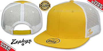 Blank OVER-SIZED MESH-BACK SNAPBACK Gold-White Hat by Zephyr