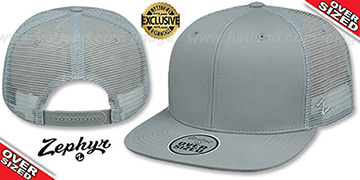 Blank OVER-SIZED MESH-BACK SNAPBACK Grey-Grey Hat by Zephyr