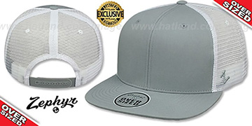 Blank OVER-SIZED MESH-BACK SNAPBACK Grey-White Hat by Zephyr